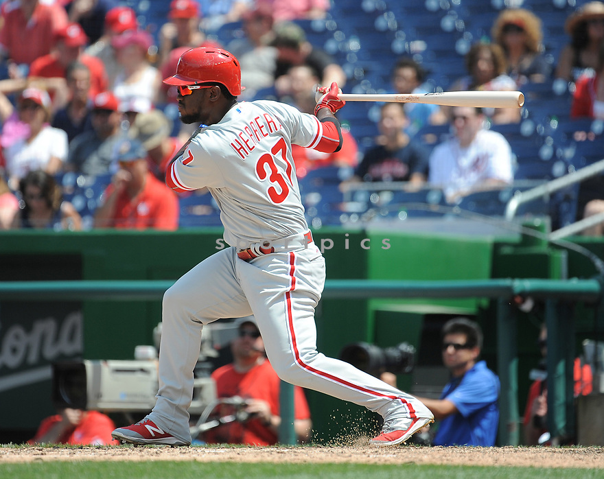 Philadelphia Phillies Odubel Herrera (37) during a game against the Washington Nationals on June 11, 2016 at Nationals Park in Washington, DC. The Nationals beat the Phillies 8-0.