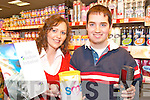 WORK TIME: Taking a break from the Job Shadow Initiative at Champs Supermarket Killorglin on Thursday  last were Caroline Griffin (Job Coach with St. John of God, Kerry Services) and BJ Breen (Killorglin.)   Copyright Kerry's Eye 2008