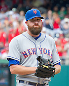 New York Mets relief pitcher Bobby Parnell (39) after giving up a double to Washington Nationals second baseman Danny Espinosa (8) that scored the winning run in the eighth inning at Nationals Park in Washington, D.C. on Wednesday, July 22, 2015.  The Nationals won the game 4 - 3.<br /> Credit: Ron Sachs / CNP<br /> (RESTRICTION: NO New York or New Jersey Newspapers or newspapers within a 75 mile radius of New York City)