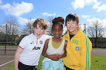 Niamh Coifan, Aishat Akintoye and Karen Sin.students in Mary Mount GNS taking part in Co-operative Games as part of Louth Primary Schools' Intercultural Week..Picture: Fran Caffrey / www.newsfile.ie ..