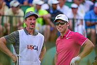 Paul Casey (GBR) and his caddie chat on the first tee during Saturday's round 3 of the 117th U.S. Open, at Erin Hills, Erin, Wisconsin. 6/17/2017.<br /> Picture: Golffile | Ken Murray<br /> <br /> <br /> All photo usage must carry mandatory copyright credit (&copy; Golffile | Ken Murray)