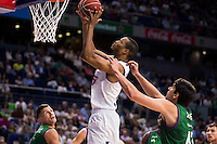 Real Madrid's player Anthony Randolph and Unicaja Malaga's player Carlos Suarez during match of Liga Endesa at Barclaycard Center in Madrid. September 30, Spain. 2016. (ALTERPHOTOS/BorjaB.Hojas) /NORTEPHOTO