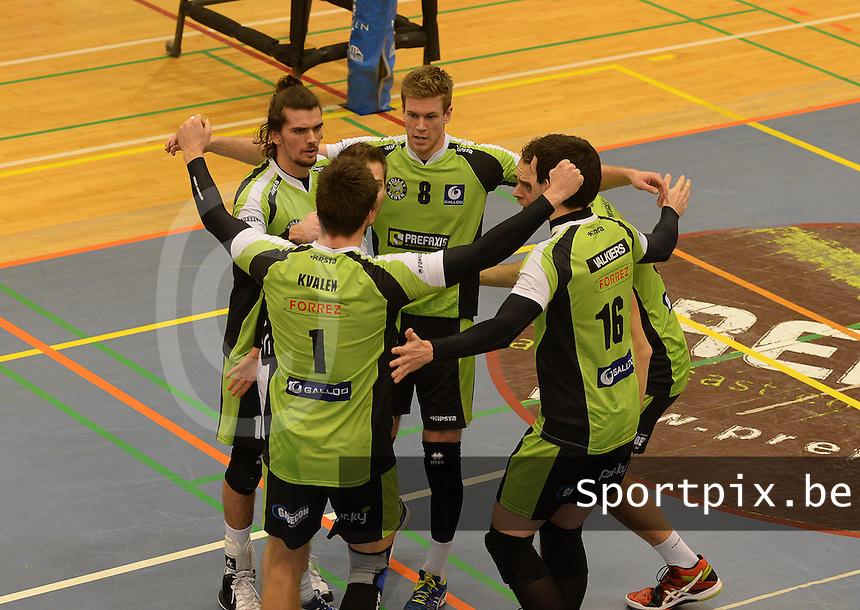 Prefaxis Menen - Hurrikaani Loimaa<br /> 1/16 finale Challenge Cup<br /> spelers van Prefaxis Menen juichen bij gewonnen punt<br />   Foto VDB / Bart Vandenbroucke