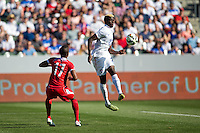 Carson, CA - Sunday, February 8, 2015 Gyasi Zardes (20) of the USMNT redirects the ball. The USMNT defeated Panama 2-0 during an international friendly at the StubHub Center.