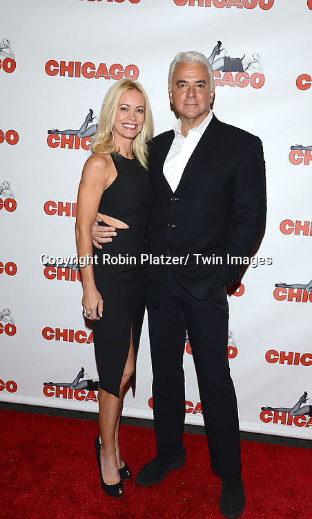 "John O'Hurleyand wife Lisa  Mesloh attend ""Chicago""  becoming the 2nd Longest Running Show on Broadway at performance 7486 on November 23, 2014 at the Ambassodor Theatre in New York City."