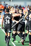 The Hague, Netherlands, June 01: Team New Zealand celebrates after winning the field hockey group match (Men - Group B) between the Black Sticks of New Zealand and Korea on June 1, 2014 during the World Cup 2014 at GreenFields Stadium in The Hague, Netherlands. Final score 2:1 (1:0) (Photo by Dirk Markgraf / www.265-images.com) *** Local caption ***