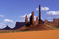 The Totem Poles rock pillars in Monument Valley National Park and navaho Indian reservation,  Utah, USA