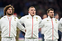 Alec Hepburn, Sam Underhill and Richard Wigglesworth of England sing the national anthem. Natwest 6 Nations match between England and Wales on February 10, 2018 at Twickenham Stadium in London, England. Photo by: Patrick Khachfe / Onside Images