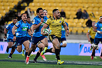 Hurricanes&rsquo; Ngani Laumape in action during the Super Rugby - Hurricanes v Blues at Westpac Stadium, Wellington, New Zealand on Saturday 7 July 2018.<br /> Photo by Masanori Udagawa. <br /> www.photowellington.photoshelter.com