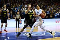 GRONINGEN - Basketbal, Donar - Telenet Giants Antwerp, Martiniplaza,  Europe Cup, seizoen 2017-2018, 06-12-2017,  Donar speler Arvin Slagter met Antwerp speler Dave Dudzinski