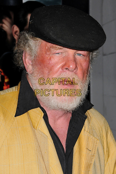 "Nick Nolte.""Gangster Squad"" Los Angeles Premiere held at Grauman's Chinese Theatre, Hollywood, California, USA..January 7th, 2013.headshot portrait black flat cap hat beard facial hair collar shirt yellow mouth open.CAP/ADM/BP.©Byron Purvis/AdMedia/Capital Pictures."