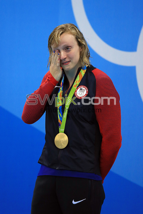 RIO DE JANEIRO, BRAZIL - AUGUST 12:  Katie Ledecky of the USA wins Gold in the Women's 800m Freestyle Final on Day 7 of the Rio 2016 Olympic Games at the Olympic Aquatics Stadium on August 12, 2016 in Rio de Janerio, Brazil.  (Photo by Vaughn Ridley/SWpix.com)