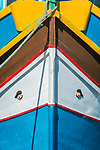 Eurpoe, Malta, Marsaxlokk, Traditional Fishing Boat Detail