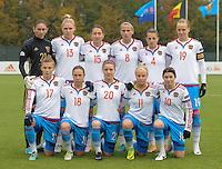 20161023 - TUBIZE , BELGIUM : Russian team with Iuliia Grichenko (21) - Tatiana Sheikina (4) - Daria Makarenko (8) - Elena Terekhova (10) - Ekatarina Sochneva (11) - Anna Belomyttseva (13) - Elena Danilova (15) - Ekaterina Pantiukhina (17) - Elvira Ziiastinova (18 - Kseniia Tsybutovich (19) - Margarita Chernomyrdina (20) pictured during a friendly game between the women teams of the Belgian Red Flames and Russia at complex Euro 2000 in Tubize , Sunday 23 October 2016 ,  PHOTO Dirk Vuylsteke | Sportpix.Be
