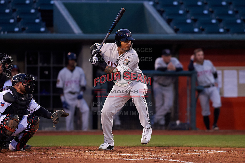 Wisconsin Timber Rattlers left fielder Leugim Castillo (27) during a Midwest League game against the Lansing Lugnuts at Cooley Law School Stadium on May 1, 2019 in Lansing, Michigan. Wisconsin defeated Lansing 2-1 in the second game of a doubleheader. (Zachary Lucy/Four Seam Images)