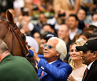 Elmont, NY - JUNE 09: Trainer Bob Baffert greets the newly crowned #1, Justify, in the Winners Circle after the 150th running of the Belmont Stakes at Belmont Park on June 9, 2018 in Elmont, New York. (Photo by Carson Dennis/Eclipse Sportswire/Getty Images)
