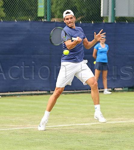 21.06.2016. Nottingham Tennis Centre, Nottingham, England. Aegon Open Mens ATP Tennis. Forehand from Frank Dancevic of Canada who beat Mikhail Kukushkin of Kazakhstan in three sets 4-6 7-6 7-6