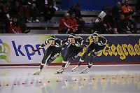 SCHAATSEN: CALGARY: Olympic Oval, 09-11-2013, Essent ISU World Cup, Team Pursuit, Andrea Giovannini, Matteo Anesi, Luca Stefani (ITA), ©foto Martin de Jong