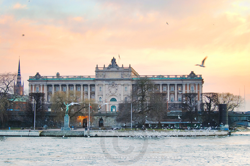 View over Strommen. The Riksdagshuset, the Swedish parliament building. Sunset. Stockholm. Sweden, Europe.