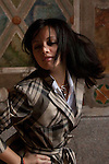 Veronica Rosa posing in Central park, Spinning around with lush, flying hair