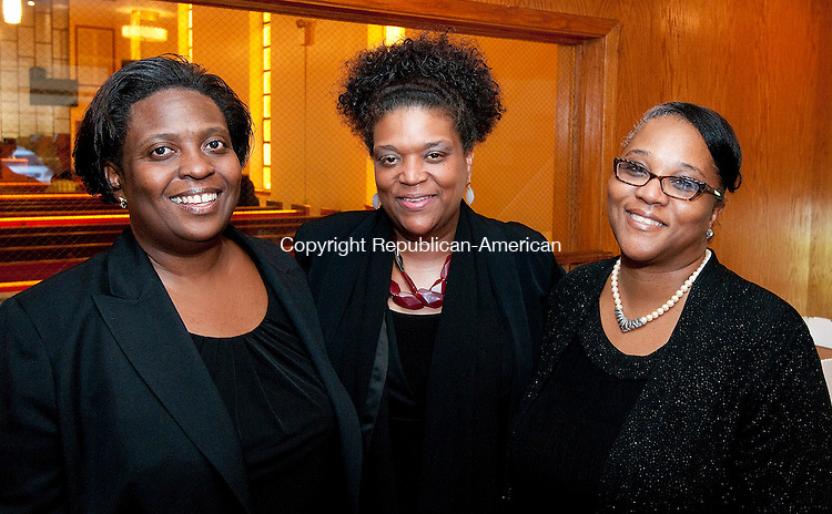 WATERBURY, CT-092814JS09-  Evangelist Rose Folson; Evangelist Diane Evans and Sister Daphne Thomas at the 27th anniversary celebration for Rev. W. James Johnson  at the Zion Baptist Church in Waterbury. <br /> Jim Shannon Republican-American