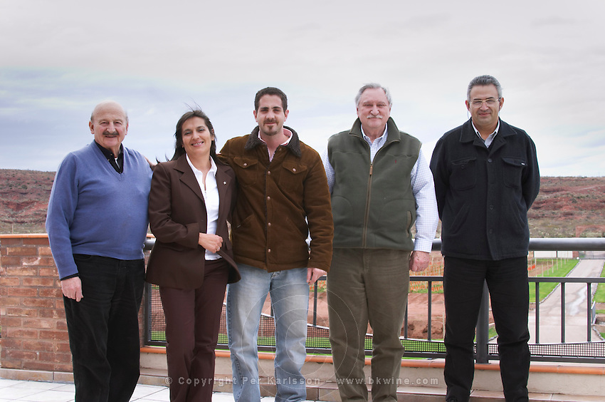 The winery team, Cr Francisco Tropeano Vice-President and partner, XXX the oenologist, Juan Carlos Vidal the son of the Carlos Vidal, Carlos Vidal president and owner, and Ricardo Gonzales, winemaker, oenologist and general manager, Bodega Del Anelo Winery, also called Finca Roja, Anelo Region, Neuquen, Patagonia, Argentina, South America
