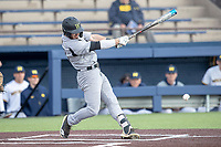 Western Michigan Broncos third baseman Jimmy Roche (10) swings the bat against the Michigan Wolverines on March 18, 2019 in the NCAA baseball game at Ray Fisher Stadium in Ann Arbor, Michigan. Michigan defeated Western Michigan 12-5. (Andrew Woolley/Four Seam Images)