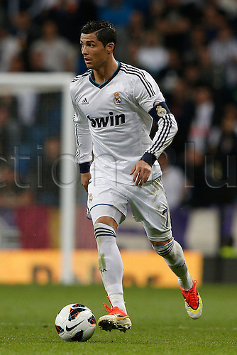 08.05.2013 Madrid, Spain. Cristiano Ronaldo during the Spanish La Liga game between Real Madrid and Malaga from the Santiago Bernabeu...