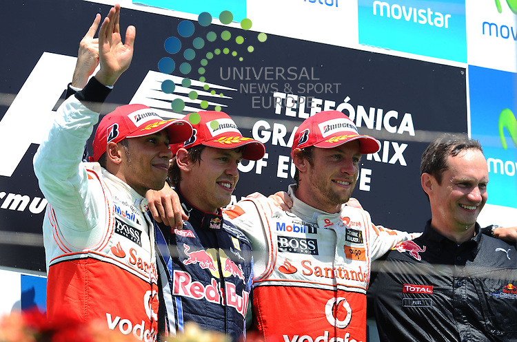 F1 GP of Europe, Valencia 24.- 27. June 2010.Podium - Lewis Hamilton (GBR), McLaren F1 Team - Sebastian Vettel (GER), Red Bull Racing - Jenson Button (GBR),  McLaren F1 Team  ..Picture:Hasan Bratic/Universal News And Sport (Europe) 27 June 2010.