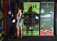 20190512 – OOSTENDE , BELGIUM : Ella Van Kerkhoven pictured during the 5th edition of the Sparkle award ceremony , Sunday 12 May 2019 , in Oostende . The Sparkle  is an award for the best female soccer player during the season 2018-2019 comparable to the Golden Shoe or Boot / Gouden Schoen / Soulier D'or for Men in Belgium . PHOTO SPORTPIX.BE | DAVID CATRY