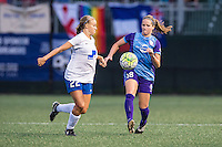 Allston, MA - Sunday July 31, 2016: Stephanie Verdoia, Maddy Evans during a regular season National Women's Soccer League (NWSL) match between the Boston Breakers and the Orlando Pride at Jordan Field.
