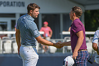 Peter Uihlein (USA) shakes hands with Cameron Smith (USA) following 2nd round of the 100th PGA Championship at Bellerive Country Club, St. Louis, Missouri. 8/11/2018.<br /> Picture: Golffile | Ken Murray<br /> <br /> All photo usage must carry mandatory copyright credit (© Golffile | Ken Murray)