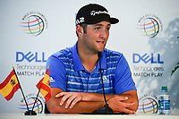 Jon Rahm (ESP) speaks to the media during a press conference following round 5 of the World Golf Championships, Dell Technologies Match Play, Austin Country Club, Austin, Texas, USA. 3/25/2017.<br /> Picture: Golffile | Ken Murray<br /> <br /> <br /> All photo usage must carry mandatory copyright credit (&copy; Golffile | Ken Murray)