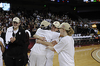 March 14, 2010.  Michelle Harrison celebrates with teammates (l to r) Sarah Boothe, Melanie Murphy and Lindy La Rocque after the Stanford Cardinal beat the UCLA Bruins to win the 2010 Pac-10 Tournament.