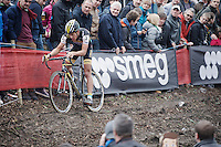 race leader Tom Meeusen (BEL/Telenet-Fidea) coming through<br /> <br /> Jaarmarktcross Niel 2015  Elite Men &amp; U23 race