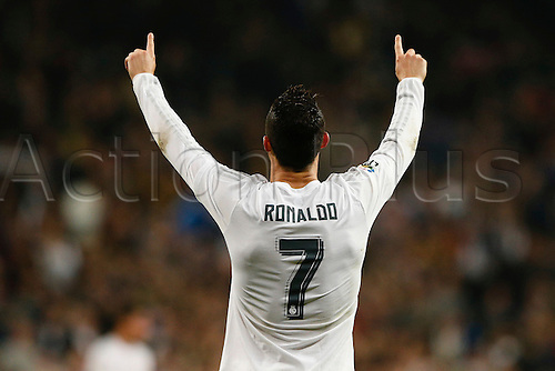 31.01.2016. Madrid, Spain.  Cristiano Ronaldo dos Santos (7) Real Madrid celebrates after scoring his team´s 4th goal  during the La Liga match between Real Madrid and Espanyol at the Santiago Bernabeu stadium in Madrid, Spain, January 31, 2016.