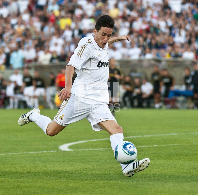 LOS ANGELES, CA – July 16, 2011: Jose Callejon (21) of Real Madrid goal kick during the match between LA Galaxy and Real Madrid at the Los Angeles Memorial Coliseum in Los Angeles, California. Final score Real Madrid 4, LA Galaxy 1.
