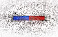 Bar Magnet showing magnetic field w iron filings. studio.