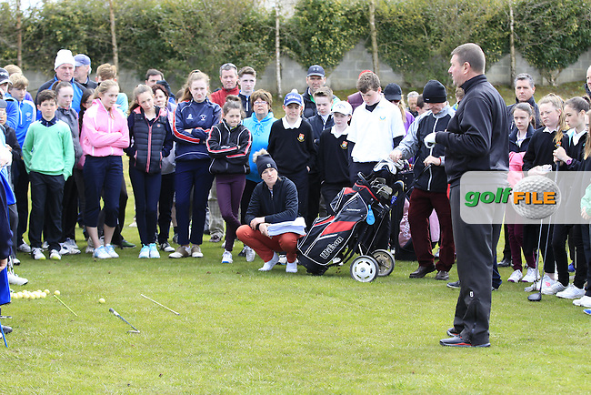 Junior golfers from across Leinster practicing their skills at the regional finals of the Dubai Duty Free Irish Open Skills Challenge supported by Bank of Ireland at the Heritage Golf Club, Killinard, Co Laois. 2/04/2016.<br /> Picture: Golffile | Fran Caffrey<br /> <br /> <br /> All photo usage must carry mandatory copyright credit (&copy; Golffile | Fran Caffrey)