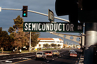 Silicon Valley, California - February 1983. Semiconductor Drive was named after William Shockley's Semiconductor Laboratory because of the company's innovative transistor designs, consequently leading to Silicon Valley becoming renown for pioneering the development software and Internet services.