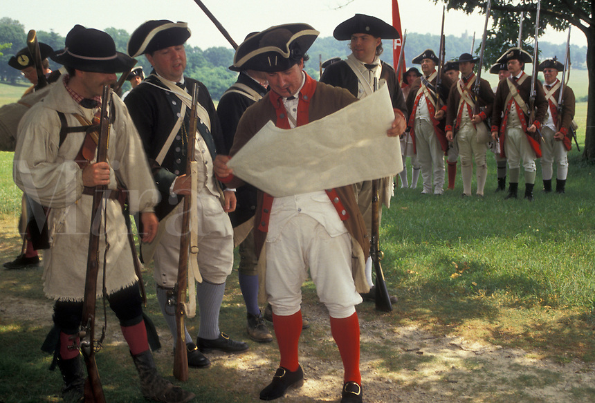 "AJ2770, soldiers, Valley Forge Park, reenactment, Valley Forge, Pennsylvania, A group of men dressed in Continental Army soldier costumes reenact the American Revolution at the """"March out of the Continental Army"""" in Valley Forge National Historical Park in Valley Forge in the state of Pennsylvania."