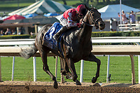 ARCADIA, CA  APRIL 7:  #3 Midnight Bisou, ridden by Mike Smith, in the stretch of the Santa Anita Oaks (Grade l) on April 7, 2018, at Santa Anita Park in Arcadia, Ca. (Photo by Casey Phillips/ Eclipse Sportswire/ Getty Images)