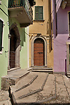 Pastel colored buildings in Argegno, a town on Lake Como, Italy