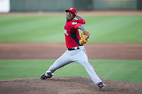 Potomac Nationals starting pitcher Phillips Valdez (16) in action against the Winston-Salem Dash at BB&T Ballpark on May 13, 2016 in Winston-Salem, North Carolina.  The Dash defeated the Nationals 5-4 in 11 innings.  (Brian Westerholt/Four Seam Images)