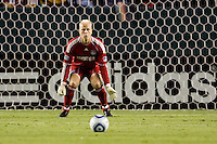 Jimmy Nielsen Goalkeeper of the Kansas City Wizards keeps his eye on the ball picking up a clean sheet on the evening. The Kansas City Wizards beat the LA Galaxy 2-0 at Home Depot Center stadium in Carson, California on Saturday August 28, 2010.