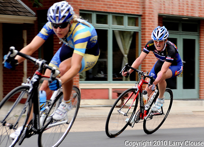 June 20, 2010: Colorado Bike Law's, Terrie Clouse (r), keeps a close eye on Tread's, Megan Hottman, as they establish a break away during the 2010 Women's Pro Criterium, Niwot, Colorado.