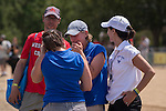 MAY 28, 2016: Wellesley head coach Tessa Spillane holds back tears following the Dlll - l Eights Grand Final at Lake Natoma in Gold River, Ca. on Saturday May 28, 2016. Wellesley won the race, claiming the Dlll National Championship.