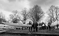 London. United Kingdom, Left, Emmanuel Boat Club A, prepares their boat for the 2018 Women's Head of the River Race.  location Barnes Bridge, Championship Course, Putney to Mortlake. River Thames, <br />