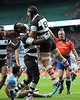 Juan Manuel Leguizamon of Barbarians (Jaguares & Argentina) celebrates after scoring a try during the Killik Cup match between the Barbarians and Argentina at Twickenham Stadium on Saturday 1st December 2018 (Photo by Rob Munro/Stewart Communications)
