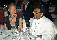 TONYA LEWIS LEE & SPIKE LEE.The Film Award Sesterzio Silver 2008 held at the Jardin de Russie,.Rome 24th June 2008..portrait headshot cream pinstripe suit glasses necklace married husband wife couple sitting table.CAP/CAV.©Luca Cavallari/Capital Pictures